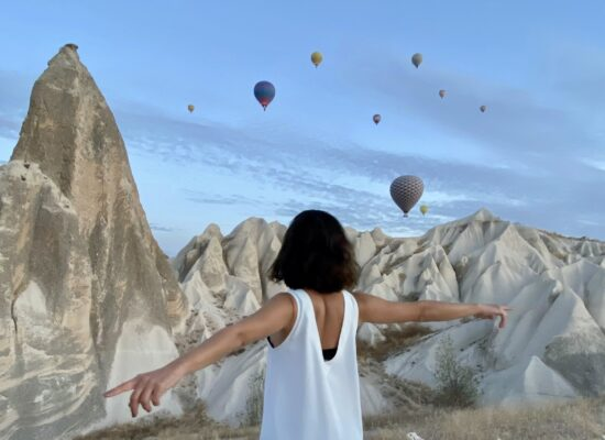 Colorful hot air balloons in Cappadocia during Turkey tour
