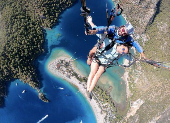 paragliding over dead sea
