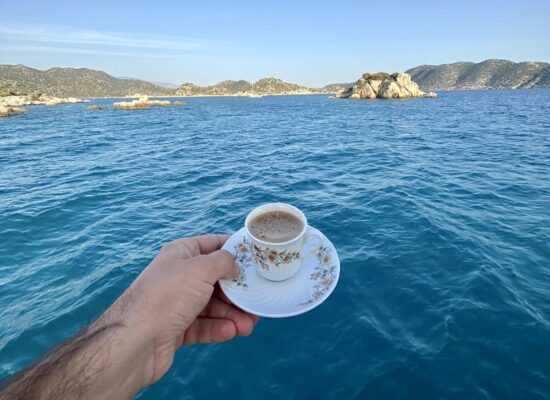 turkish coffee during blue cruise blue cruise after paragliding over dead sea